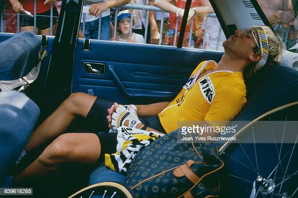 French road racing cyclist Laurent Fignon, one of the big favourites, by 8 seconds, behind American Greg LeMond. At the third place, Spanish Pedro...