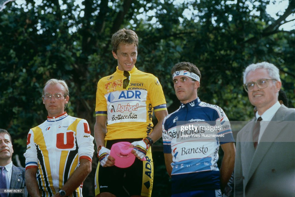 French road racing cyclist Laurent Fignon, one of the big favourites, by 8 seconds, behind American Greg LeMond. at the third place, Spanish Pedro Delgado.