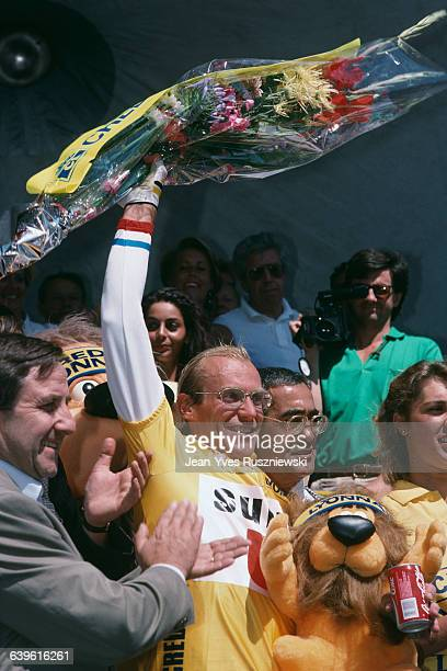 French road racing cyclist Laurent Fignon won the 18th stage . | Location: Alpes d'Huez, France.