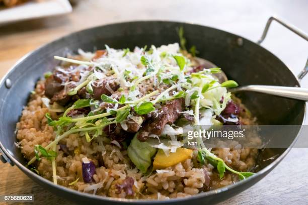 French Roast Beef Rice in Cast Iron Pan