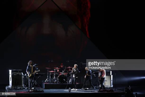 French rock band Kyo perfoms on stage during the 33rd Victoires de la Musique the annual French music awards ceremony on February 9 2018 at the Seine...