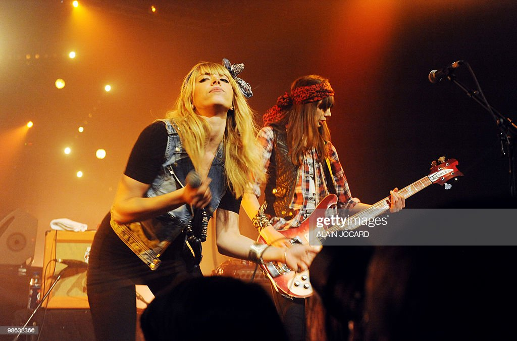 French rock band Plastiscines performs on stage on April 16, 2010 in Bourges, during the 34th edition of Le Printemps De Bourges rock pop festival.