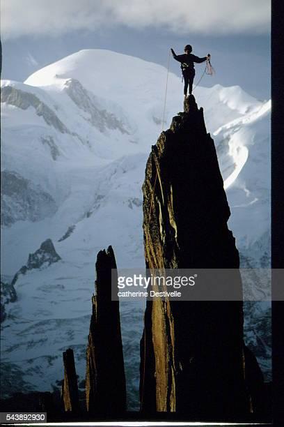 French rock climber Catherine Destivelle climbs the Clocher du Planpraz in Chamonix