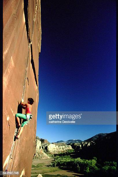 French rock climber Catherine Destivelle climbs the Moses Tower with American alpinist Jeff Lowe