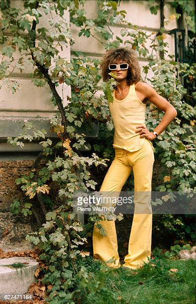 French rock singer Michel Polnareff outside his house in Paris