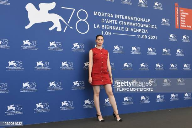 """French Romanian actress Anamaria Vartolomei attends a photocall for the film """"l'Evenement"""" presented in competition on September 6, 2021 during the..."""