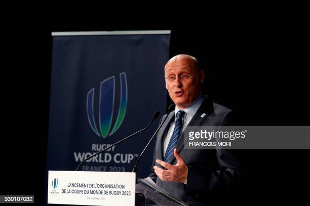 French Rugby Federation President Bernard Laporte addresses the audience as he kicks off France's plans to host the 2023 Rugby World Cup by signing...