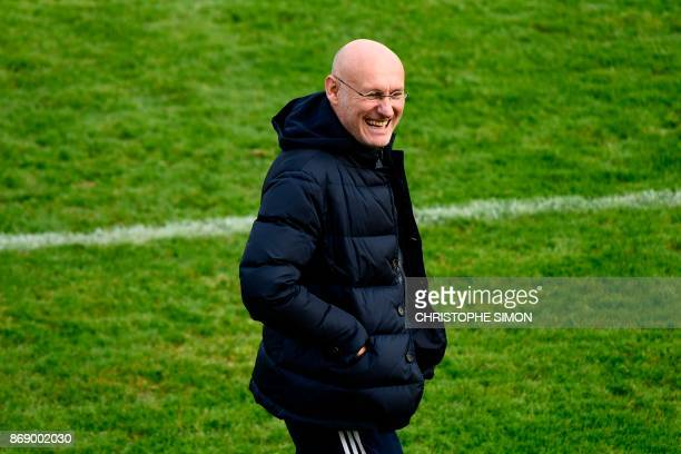 French Rugby Federation President Bernard Laporte attends a training session of the French national rugby union team in Marcoussis near Paris on...