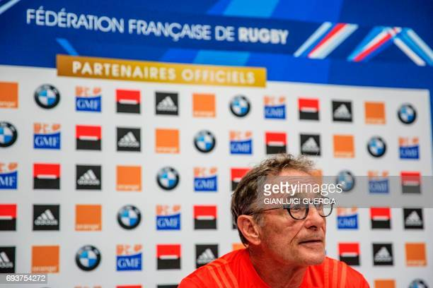 French rugby national team head coach Guy Noves gives a press briefing to announce the team facing South Africa for their first test on June 8 2017...