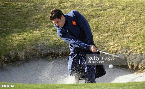 French rugby player Florian Fritz plays golf at the Miramar Golf Course in Wellington on June 18 2009 France on June 17 made three changes to their...