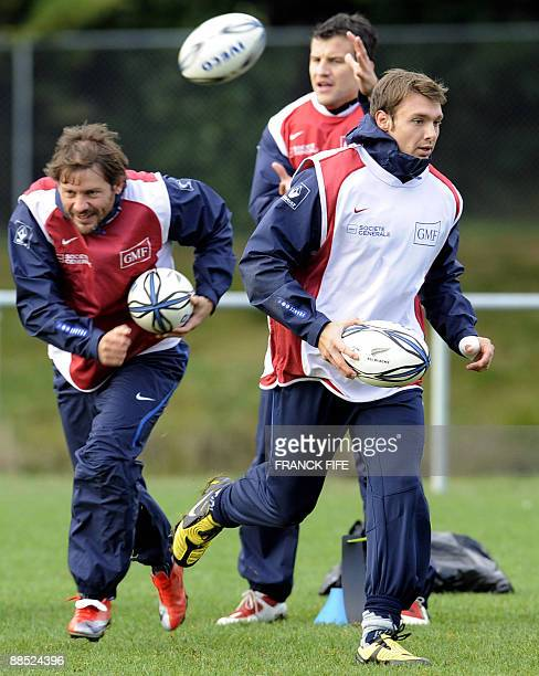 French rugby players Vincent Clerc and Cedric Heymans practice during a training session in Porirua on June 17 2009 France on June 17 made three...
