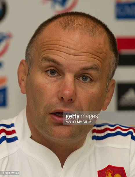 French rugby union assistant coach Yannic Bru speaks to the media ahead of the third rugby test mach against the New Zealand All Blacks at Yarrow...