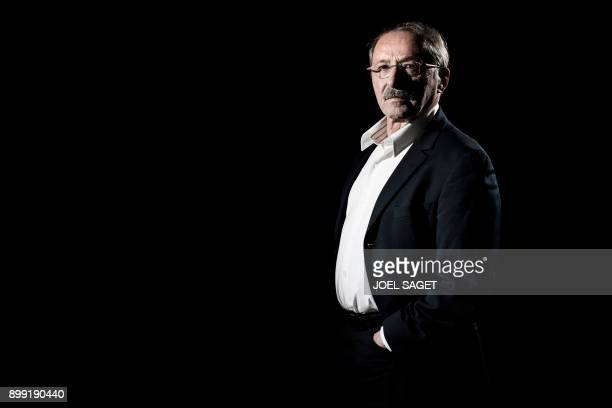 French Rugby Union national team coach Jacques Brunel poses during a photo session in Paris on December 27 2017 Guy Noves was sacked on December 27...