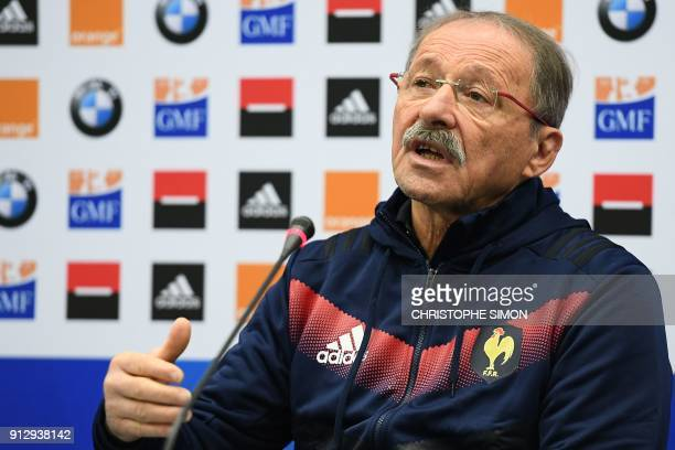 French rugby union national team head coach Jacques Brunel announces the French squad two days ahead of a Six Nations match against Ireland on...