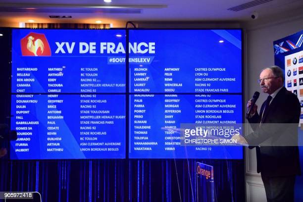 French Rugby Union national team head coach Jacques Brunel gives a press conference to announce a squad of 31 players for the Six Nations on January...