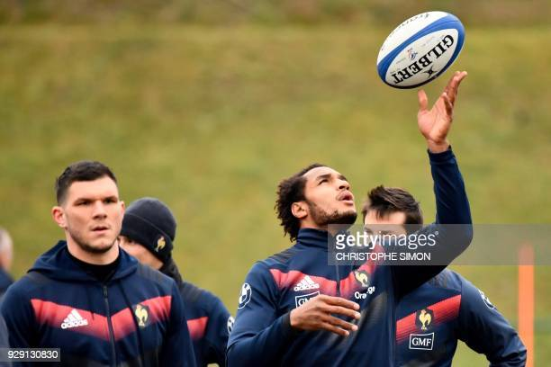 French rugby union national team player Benjamin Fall takes part in a training session ahead of the Six Nations match against England on March 8 in...