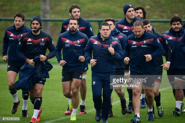 French rugby union national team players attend a captain's run session in Marcoussis near Paris on November 17 on the eve of the rugby union...