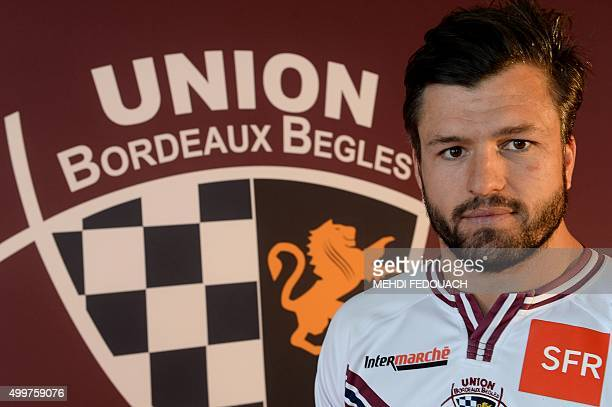 French rugby union team Union Bordeaux Begles' new recruit Australian centre Ashley Cooper poses at AndreMoga Stadium in Begles on December 3 2015 /...