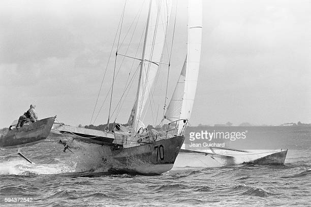 French sailor Eric Tabarly aboard the Paul Ricard during the Multihull Trophy boat race