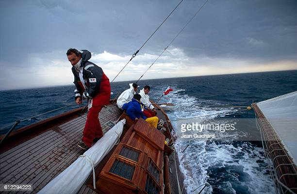 French sailor Eric Tabarly aboard the Pen Duick