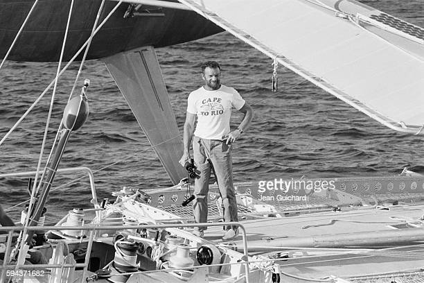 French sailor Eric Tabarly arriving in Lorient after the Transat boat race He finished second after Eugene Riguidel
