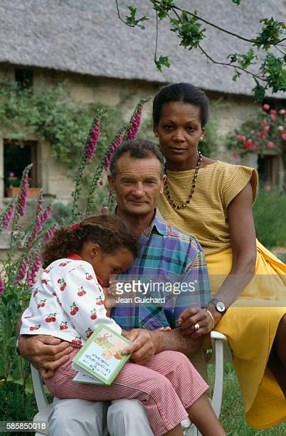 French sailor Eric Tabarly his wife Jacqueline and his daughter Marie at home