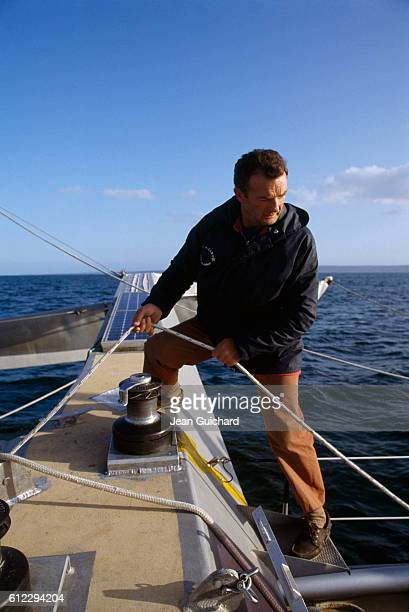 French sailor Eric Tabarly training on his boat Paul Ricard