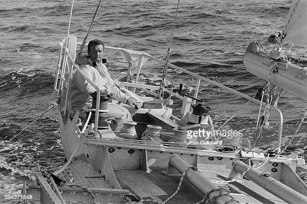 French sailor Eric Tabarly training on his boat the Paul Ricard