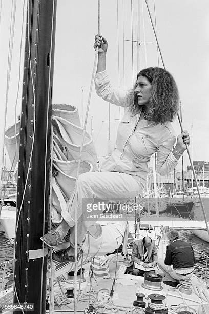 French sailor Florence Artaud before the OSTAR SingleHanded TransAtlantic Race sponsored by British newspaper The Observer The race would later be...
