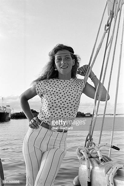 French sailor Florence Arthaud aboard the Biotherm II during the 1982 Route du Rhum boat race