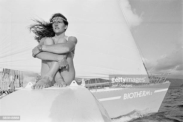 French sailor Florence Arthaud cruising aboard the Biotherm II in Guadeloupe