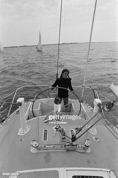 French sailor Florence Arthaud during preparations for the Double Transat boat race abord the boat Biotherm at the Port Camargue | Location Port...