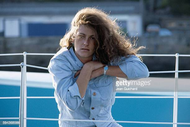 French sailor Florence Arthaud during the christening of her boat the Biotherm