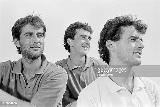 French sailor Loïck Peyron wins the Almadies race from La Baule to Dakar on Lada Poch II with Jacques Delorme He's surrounded by his brothers sailors...