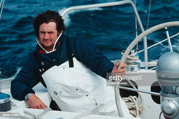 French sailor Olivier de Kersauson attempts the FrancoBritish Double Transat with crewman Gerard Djikstra abord the trimaran Jacques Ribourel which...