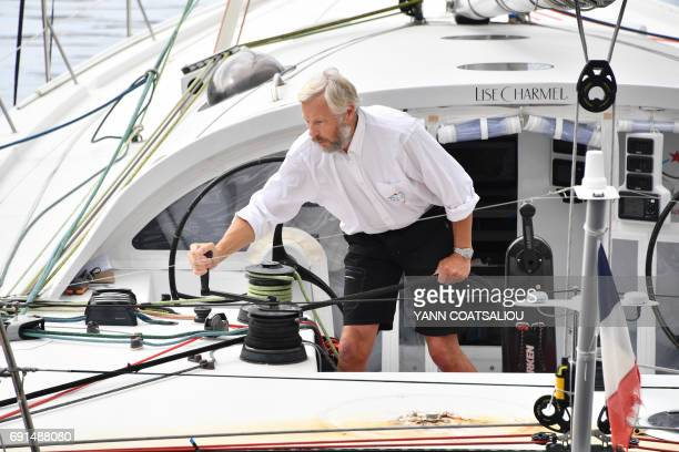 French sailor Yvan Griboval aboard the OceanoScientific Explorer called Boogaloo arrives at the harbour of MonteCarlo on June 2 2017 Yvan Griboval...