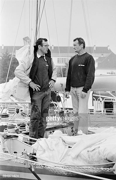 French sailors Eric Tabarly and his brother Patrick Tabarly aboard the Paul Ricard just before the Lorient Les Bermudes Lorient boat race