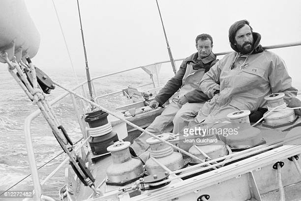 French sailors Eric Tabarly and Marc Pajot training on Tabarly's boat the Paul Ricard