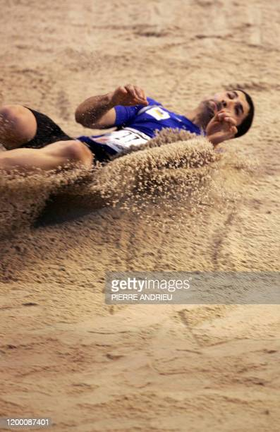 French Salim Sdiri competes in the long jump race on February 17 2008 in Bordeaux southwestern France during the Indoor French championships Sdiri...