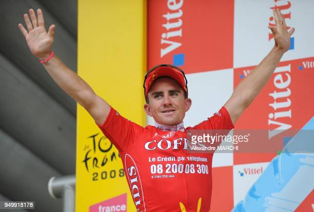 French Samuel Dumoulin jubilates on the podium on July 7 2008 in Nantes after winning the 208 km third stage of the 2008 Tour de France cycling race...