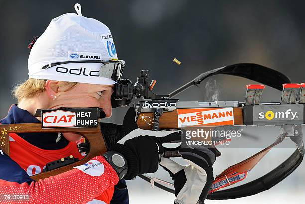 French Sandrine Bailly shoots during the Women World Cup Biathlon's 125 km mass start 20 January 2008 in Anterselva German Andrea Henkel won the race...