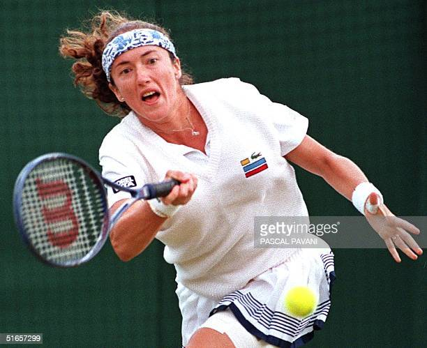French Sandrine Testud on her way to victory 63 76 over American Lori McNeil in their third round ladies singles match at the Wimbledon Tennis...