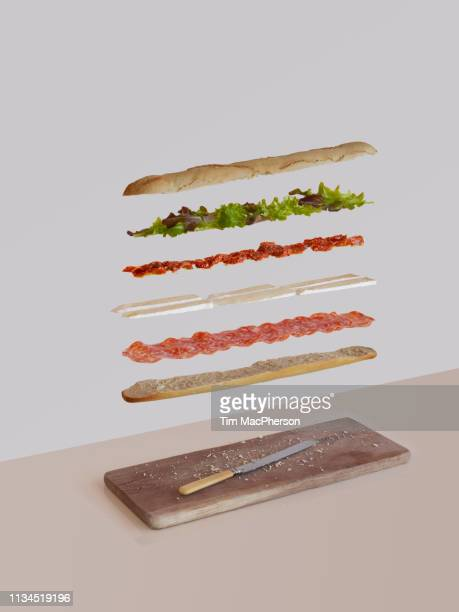 french sandwich deconstructed - sausage sandwich stock pictures, royalty-free photos & images