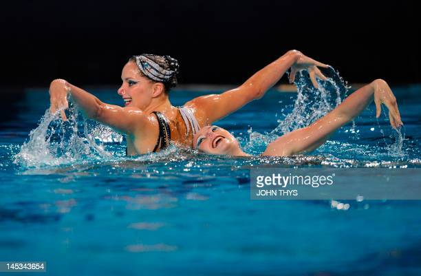 French Sara Labrousse and Chloe Willhelm compete in the final qualification session duets free routine during the European Swimming Championships on...