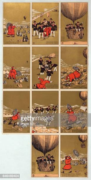 French satirical cards Chinese Governor of BacNinh Vietnam with his rabbits sees balloon carrying French sailors approaching Sailors landtake...