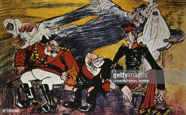 French satirical cartoon 1905 depicting French German and Spanish rivalry in Morocco Kaiser Wilhelm II and King Alphonso XIII are shown