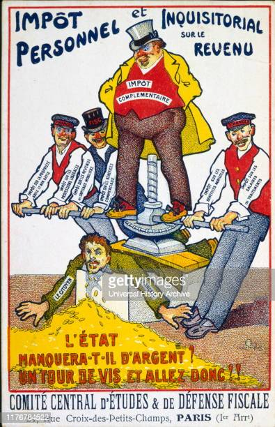 French Satirical Illustration concerning the burden of taxation squeezing the citizens of France. 1890 -1900.