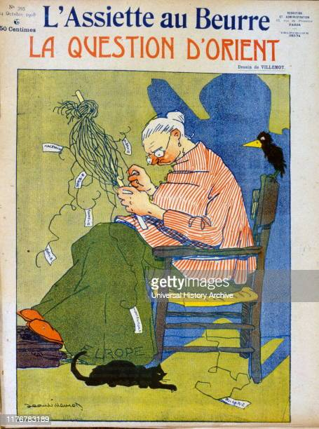 French satirical Illustration depicting Europe trying to untangle the threads of confusion in Balkan politics 1908