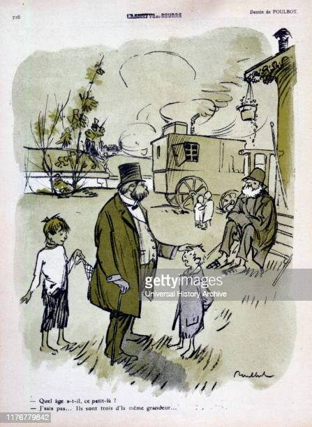 French satirical illustration of 1909, showing a gypsy family visited by a wealthy businessman.