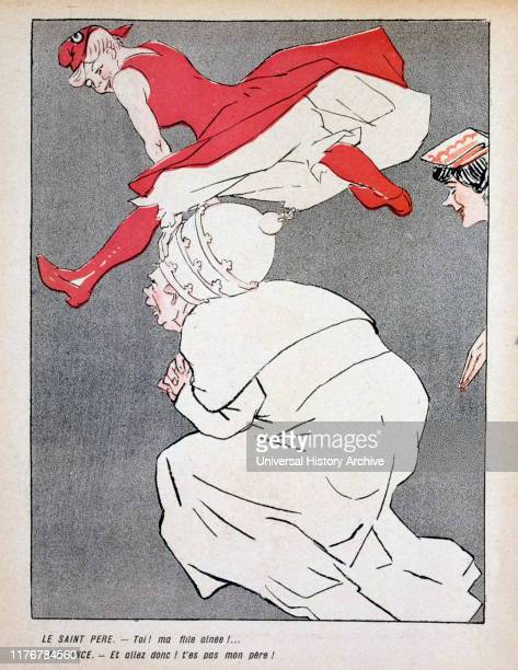 French Satirical Illustration showing Pope Pius IX being subservient to France In 1905 France issued a Law of Separation which separated church and...